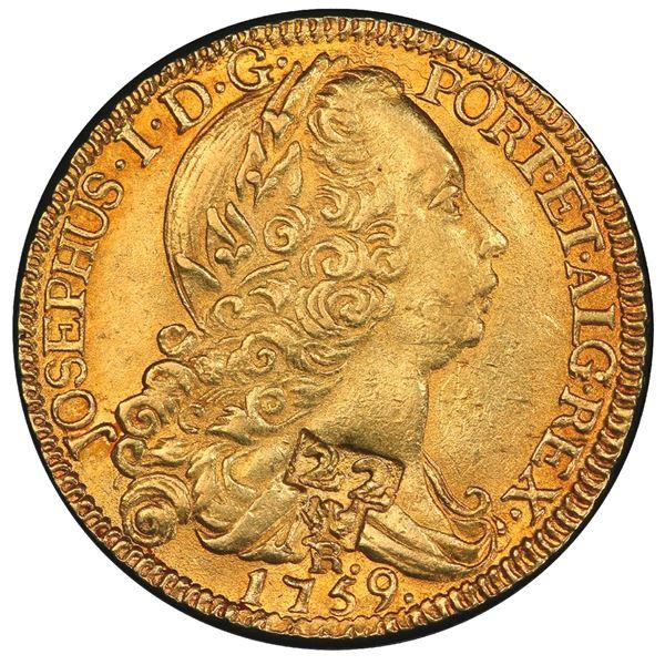 """Martinique (French Colony), gold 22 livres, countermark """"22"""" over eagle (1805) on a genuine Rio, Bra"""