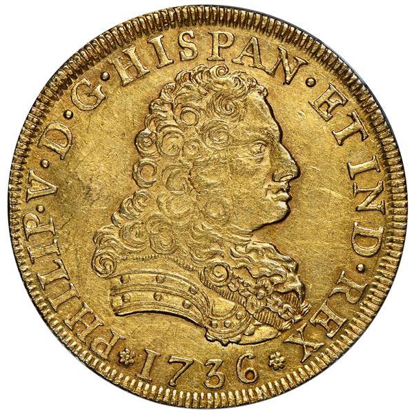 Mexico City, Mexico, gold bust 8 escudos, Philip V, 1736 MF, florette above assayers, NGC MS 61.
