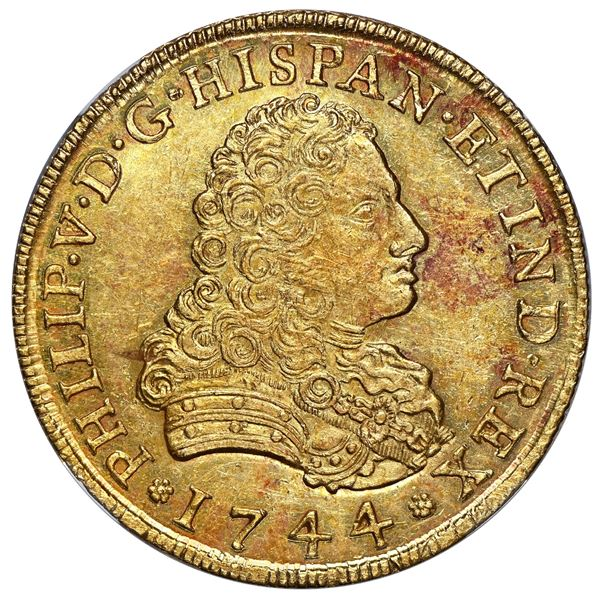 Mexico City, Mexico, gold bust 8 escudos, Philip V, 1744 MF, NGC MS 63.