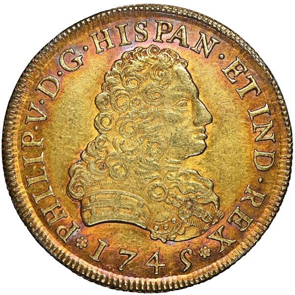 Mexico City, Mexico, gold bust 8 escudos, Philip V, 1745 MF, NGC MS 61.