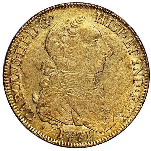 """Mexico City, Mexico, gold bust 8 escudos, Charles III (young bust, """"rat nose""""), 1771 MF, rare, NGC A"""