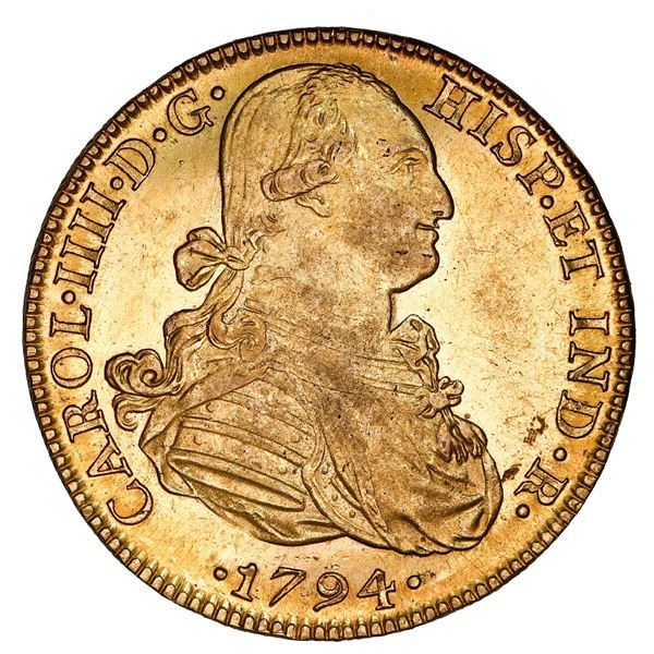 Mexico City, Mexico, gold bust 8 escudos, Charles IV, 1794 FM, NGC MS 60.