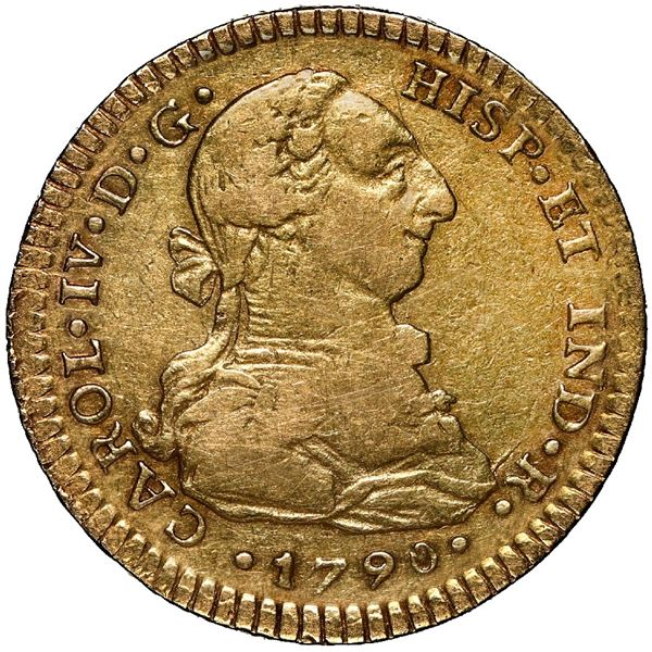 Mexico City, Mexico, gold bust 2 escudos, Charles IV transitional (bust of Charles III, ordinal IV),