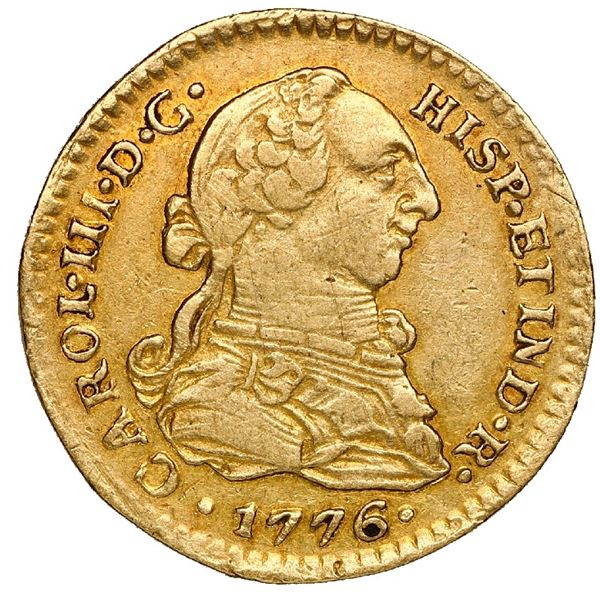 Mexico City, Mexico, gold bust 1 escudo, Charles III, 1776 FM, NGC XF 45.