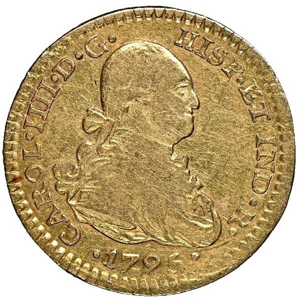 Mexico City, Mexico, gold bust 1 escudo, Charles IV, 1795 FM, NGC VF 30.