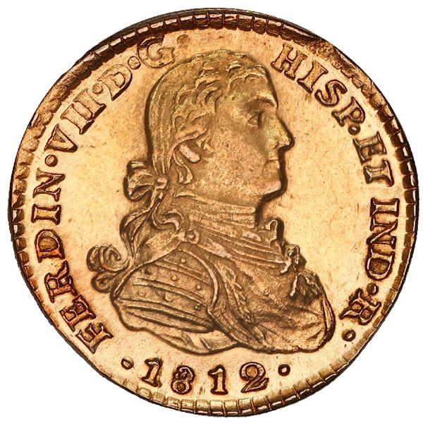 """Mexico City, Mexico, gold bust 1 escudo, Ferdinand VII transitional (""""armored"""" bust), 1812 HJ, NGC M"""