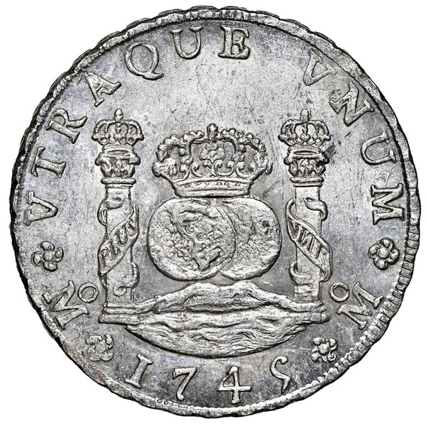 Mexico City, Mexico, pillar 8 reales, Philip V, 1745 MF, NGC MS 65, finest known in NGC census.