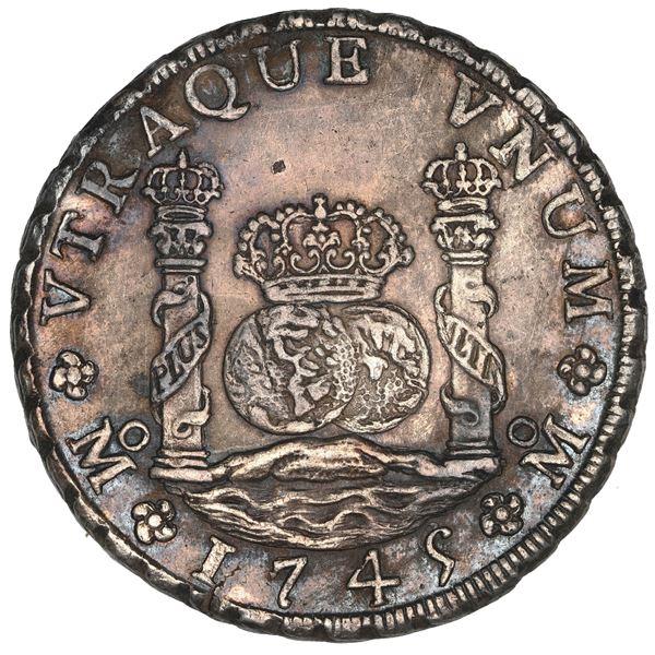 Mexico City, Mexico, pillar 8 reales, Philip V, 1745 MF, NGC MS 61.