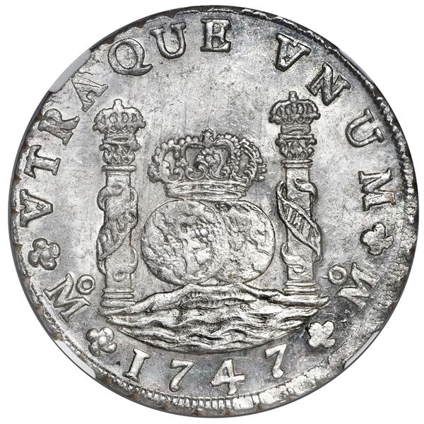 Mexico City, Mexico, pillar 8 reales, Philip V, 1747 MF, NGC MS 64, finest known in NGC census, ex-R