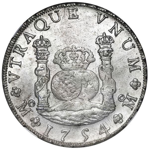 Mexico City, Mexico, pillar 8 reales, Ferdinand VI, 1754 MM, crowns alike, NGC AU 58.