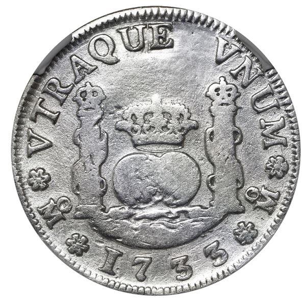 Mexico City, Mexico, pillar 2 reales, Philip V, 1733 F, very rare, NGC VG details / plugged, ex-Rudm