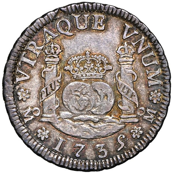 Mexico City, Mexico, pillar 2 reales, Philip V, 1735/4 MF, NGC AU 58, finest known in NGC census.