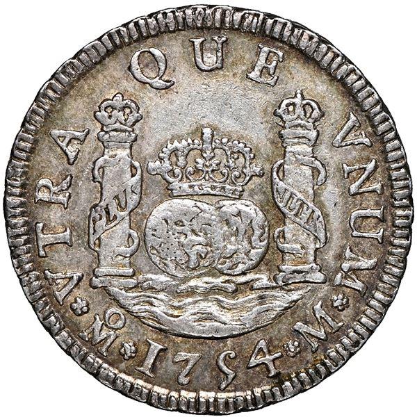 Mexico City, Mexico, pillar 2 reales, Ferdinand VI, 1754 M, NGC AU 58.