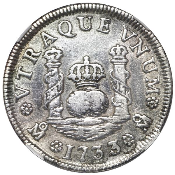 Mexico City, Mexico, pillar 1 real, Philip V, 1733 MF, NGC VF details / test punch damage, cleaned,