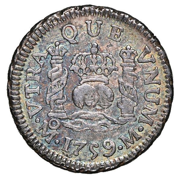 Mexico City, Mexico, pillar 1/2 real, Ferdinand VI, 1759 M, NGC AU 58.