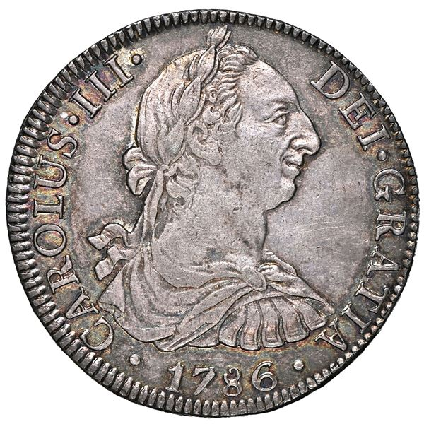 Mexico City, Mexico, bust 8 reales, Charles III, 1786 FM, NGC AU 58.