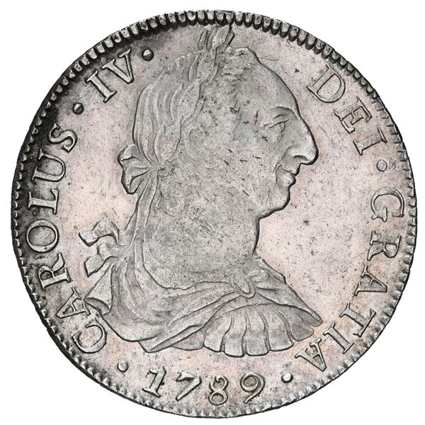 Mexico City, Mexico, bust 8 reales, Charles IV transitional (bust of Charles III, ordinal IV), 1789