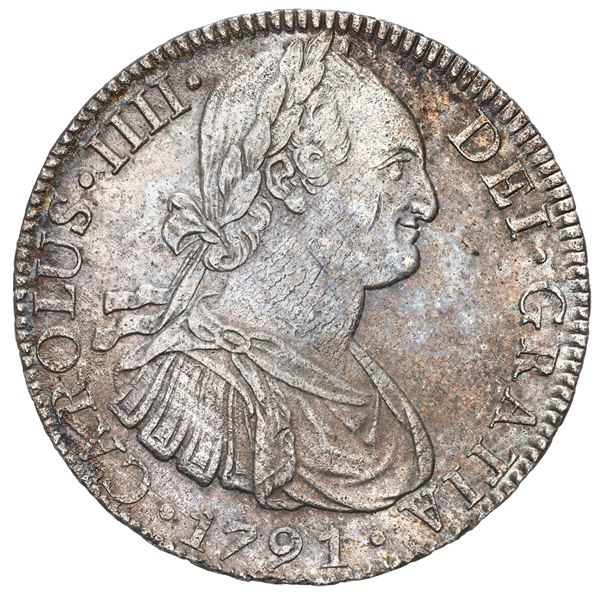 Mexico City, Mexico, bust 8 reales, Charles IV, 1791 FM, ex-Bevill.