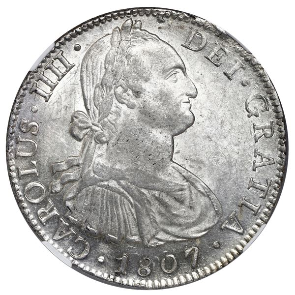Mexico City, Mexico, bust 8 reales, Charles IV, 1807 TH, NGC MS 62.