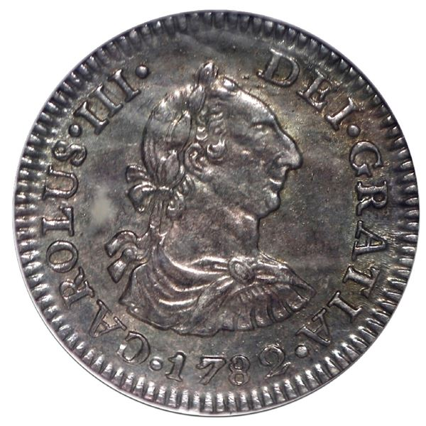 """Mexico City, Mexico, bust 1/2 real, Charles III, 1782 FF, NGC MS 63 (""""top pop""""), ex-Rudman."""
