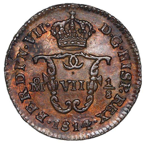 Mexico City, Mexico, copper octavo (1/16 real), Ferdinand VII, 1814, NGC MS 62 BN.