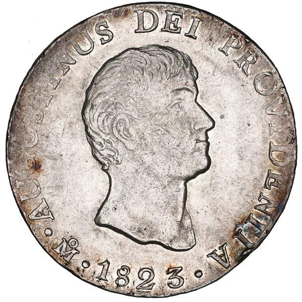 Mexico City, Mexico, 8 reales, 1823 JM, Iturbide, colonial edge, flat-top 3, NGC AU details / cleane
