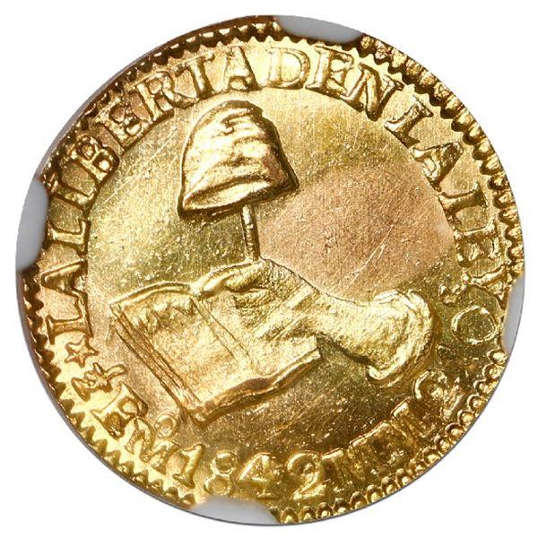 Mexico City, Mexico, gold 1/2 escudo, 1842 MM, NGC MS 62.