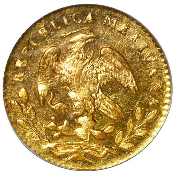 Mexico City, Mexico, gold 1/2 escudo, 1856/4 GF, NGC MS 63.