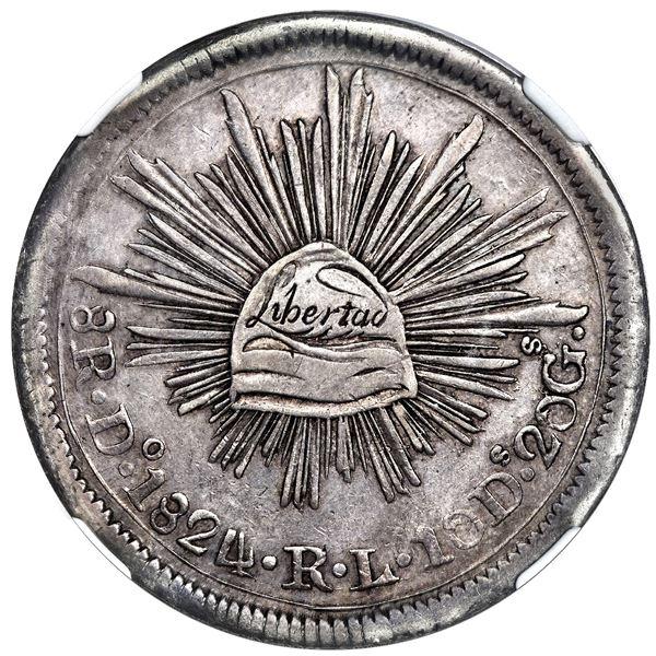 "Durango, Mexico, ""hookneck"" 8 reales, 1824 RL, submissive snake, small Libertad, NGC XF 45."