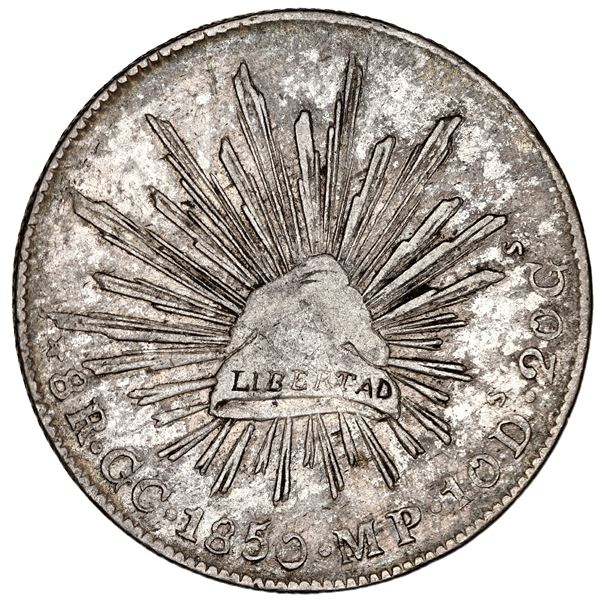 Guadalupe y Calvo, Mexico, cap-and-rays 8 reales, 1850 MP, NGC XF 40.