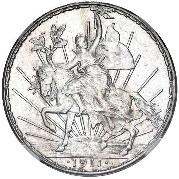 "Mexico City, Mexico, 1 peso, ""Caballito,"" 1911, long ray, NGC MS 62."