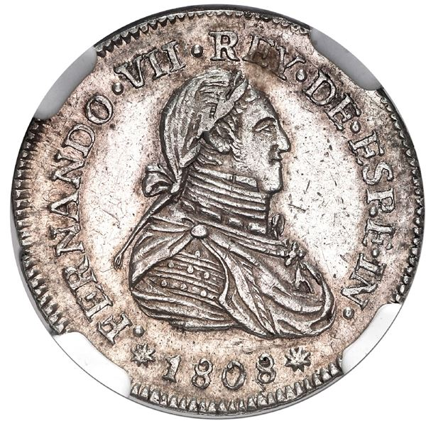 Leon, Nicaragua, 1 real proclamation medal, Ferdinand VII (bust of Charles IV), 1808, rare, NGC AU 5