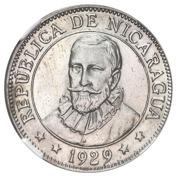Nicaragua, 50 centavos, 1929, NGC MS 62, ex-Stuart.