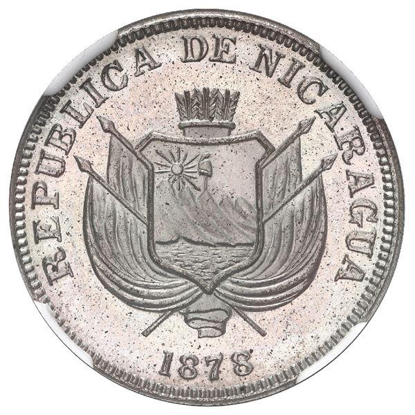 Nicaragua, proof copper-nickel 1 centavo, 1878, rare, NGC PF 64, ex-Luis Flores.