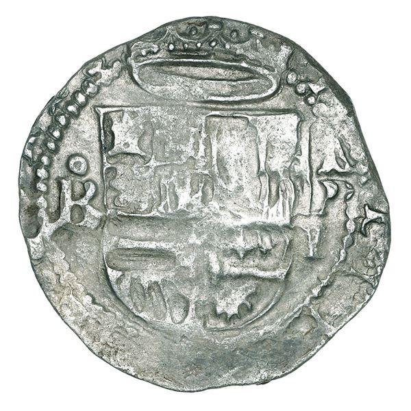 Panama, cob 1 real, Philip II, assayer oB to left, mintmark AP above denomination I to right, Aragon