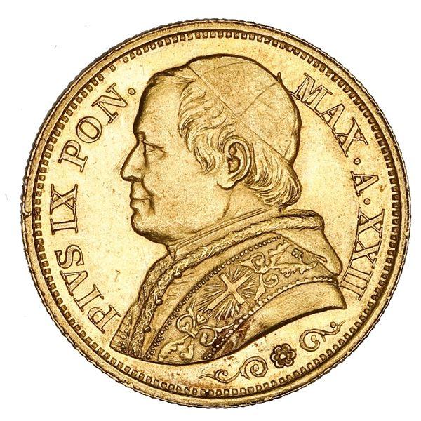 Papal States, gold 20 lire, Pius IX, 1867-R, Year XXII, NGC AU 58.