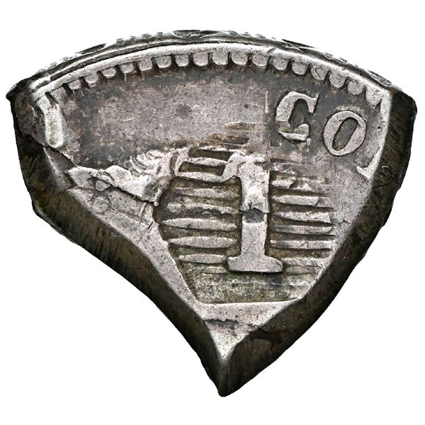 """Paraguay (War of the Triple Alliance), 1 real, countermark """"1"""" in rounded hexagonal field of horizon"""