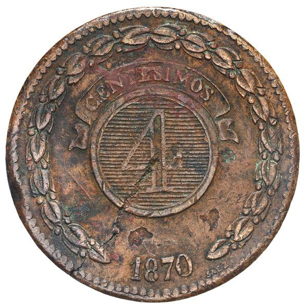 Asuncion, Paraguay, bronze 4 centesimos, 1870, SAEZ.