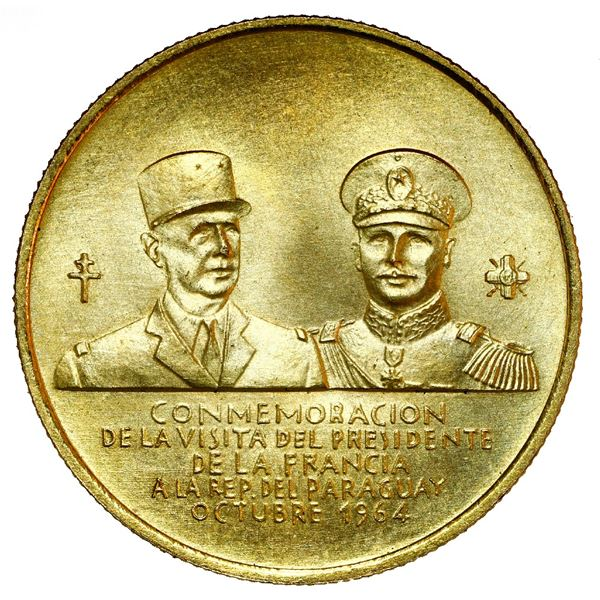 Paraguay, coin-sized gold medal, 1964, visit by Charles de Gaulle.