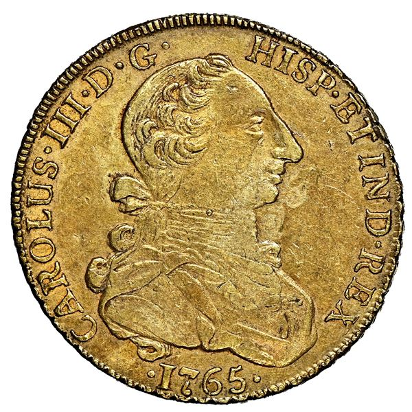"""Lima, Peru, gold bust 8 escudos, Charles III (first """"rat nose"""" type), 1765 JM, rare, NGC AU 55, fine"""