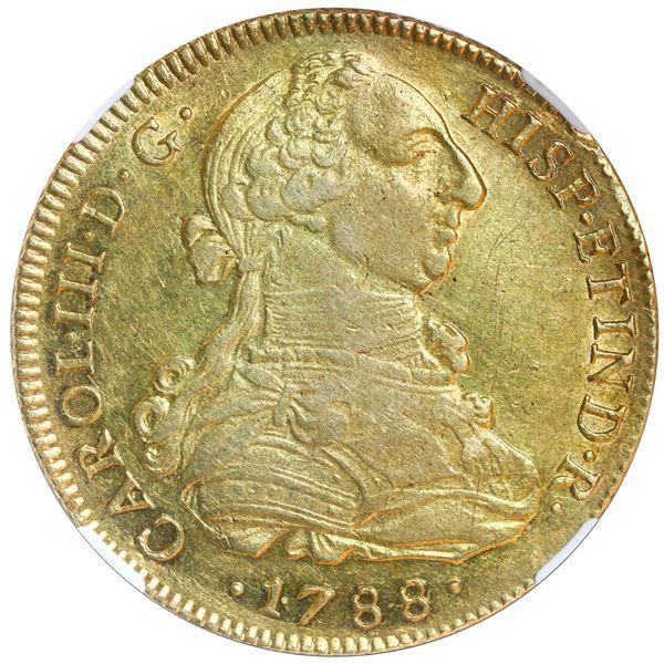 Lima, Peru, gold bust 8 escudos, Charles III, 1788 IJ, NGC AU 53.
