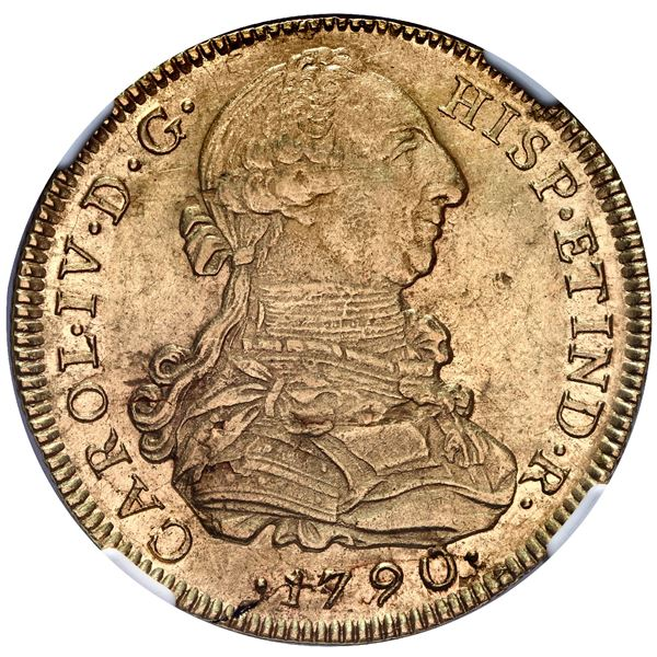 Lima, Peru, gold bust 8 escudos, Charles IV transitional (bust of Charles III, ordinal IV), 1790 IJ,