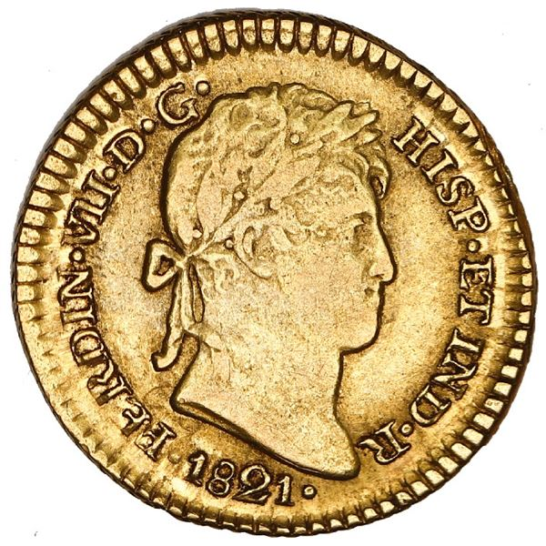 Lima, Peru, gold bust 1 escudo, Ferdinand VII, 1821 JP, NGC VF 35, finest and only example at NGC