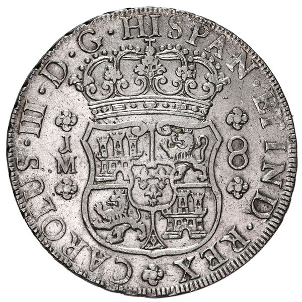 Lima, Peru, pillar 8 reales, Charles III, 1761 JM, dots over both mintmarks.