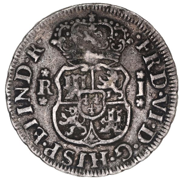 Lima, Peru, pillar 1 real, Ferdinand VI, 1758 JM.