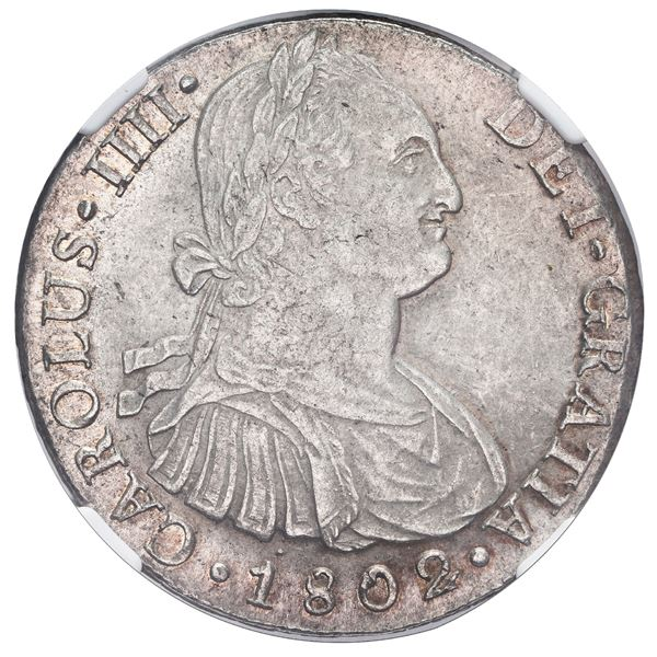 Lima, Peru, bust 8 reales, Charles IV, 1802 IJ, NGC MS 62.