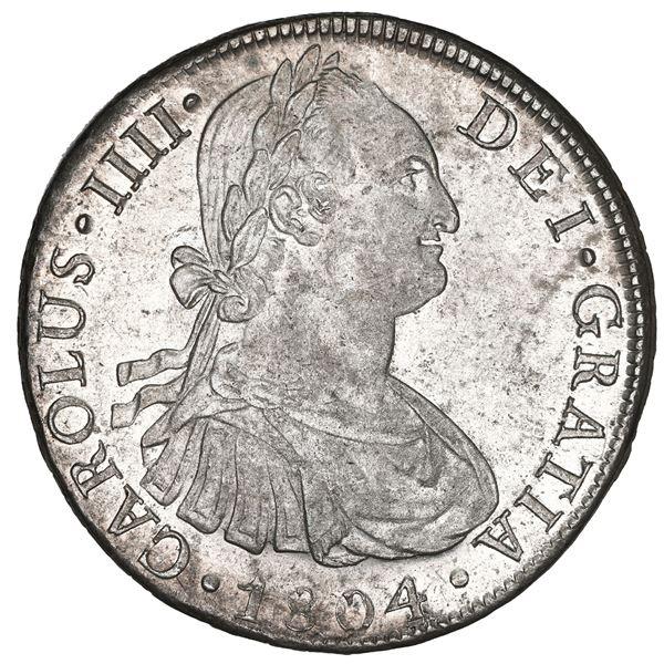 Lima, Peru, bust 8 reales, Charles IV, 1804 JP, NGC MS 63.