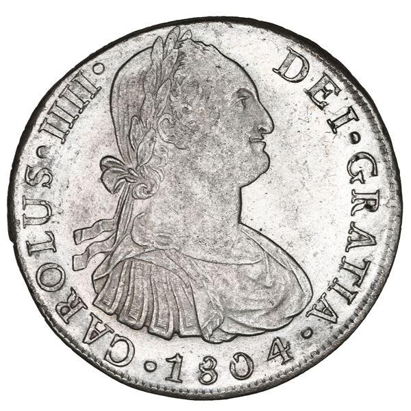 Lima, Peru, bust 8 reales, Charles IV, 1804 JP, NGC MS 62.