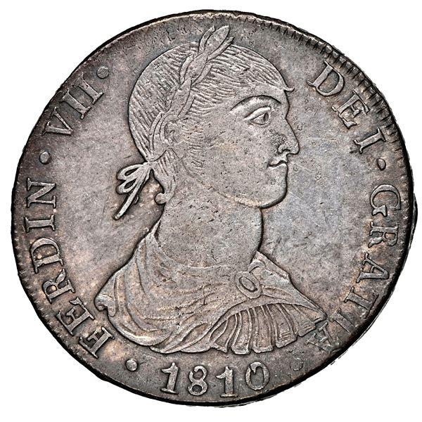 "Lima, Peru, bust 8 reales, Ferdinand VII transitional (smaller ""imaginary"" bust), 1810 JP, NGC AU 55"