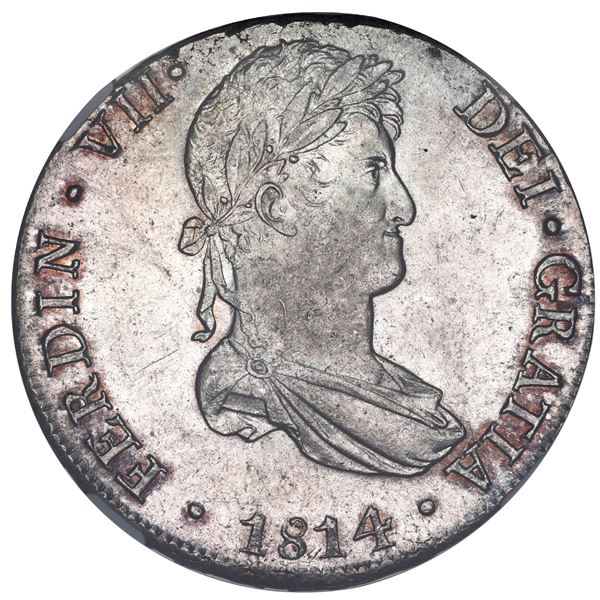 Lima, Peru, bust 8 reales, Ferdinand VII, 1814 JP, NGC MS 62.